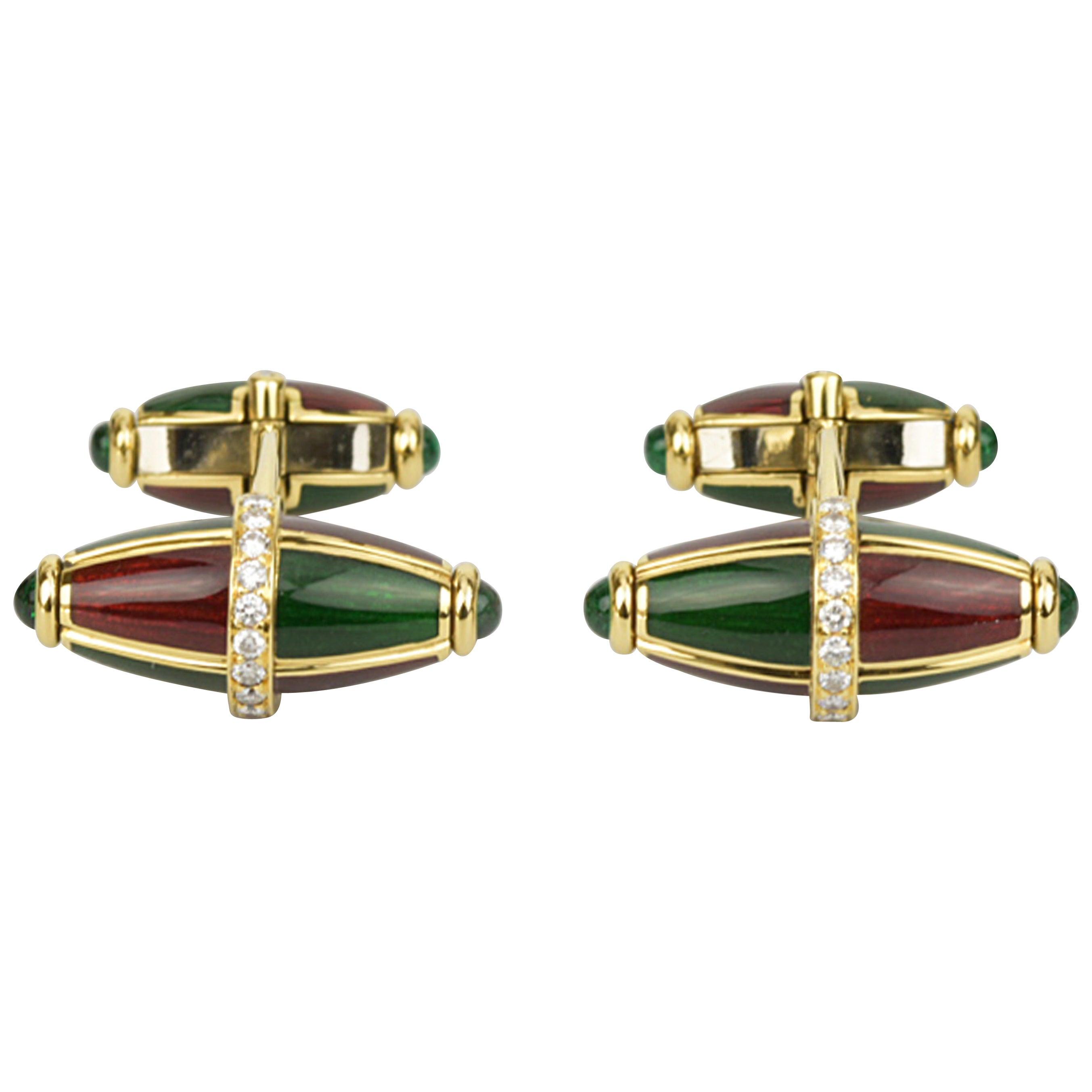 Matthew Cambery 18 Karat Yellow Gold Enamel Diamond Emerald Cabochon Cufflinks