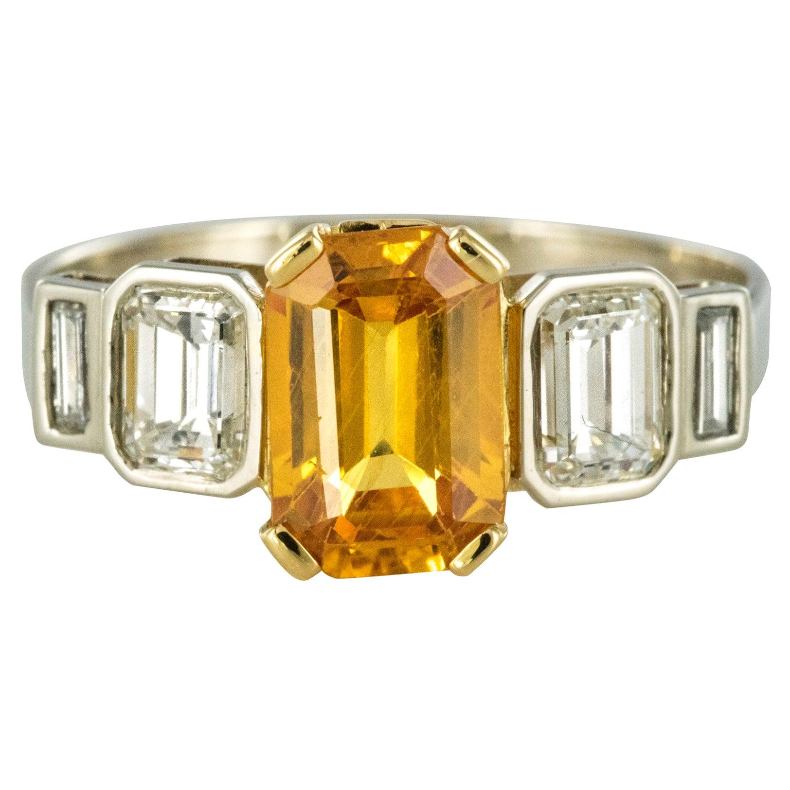 Art Deco Style Yellow Ceylon Sapphire Diamonds Ring