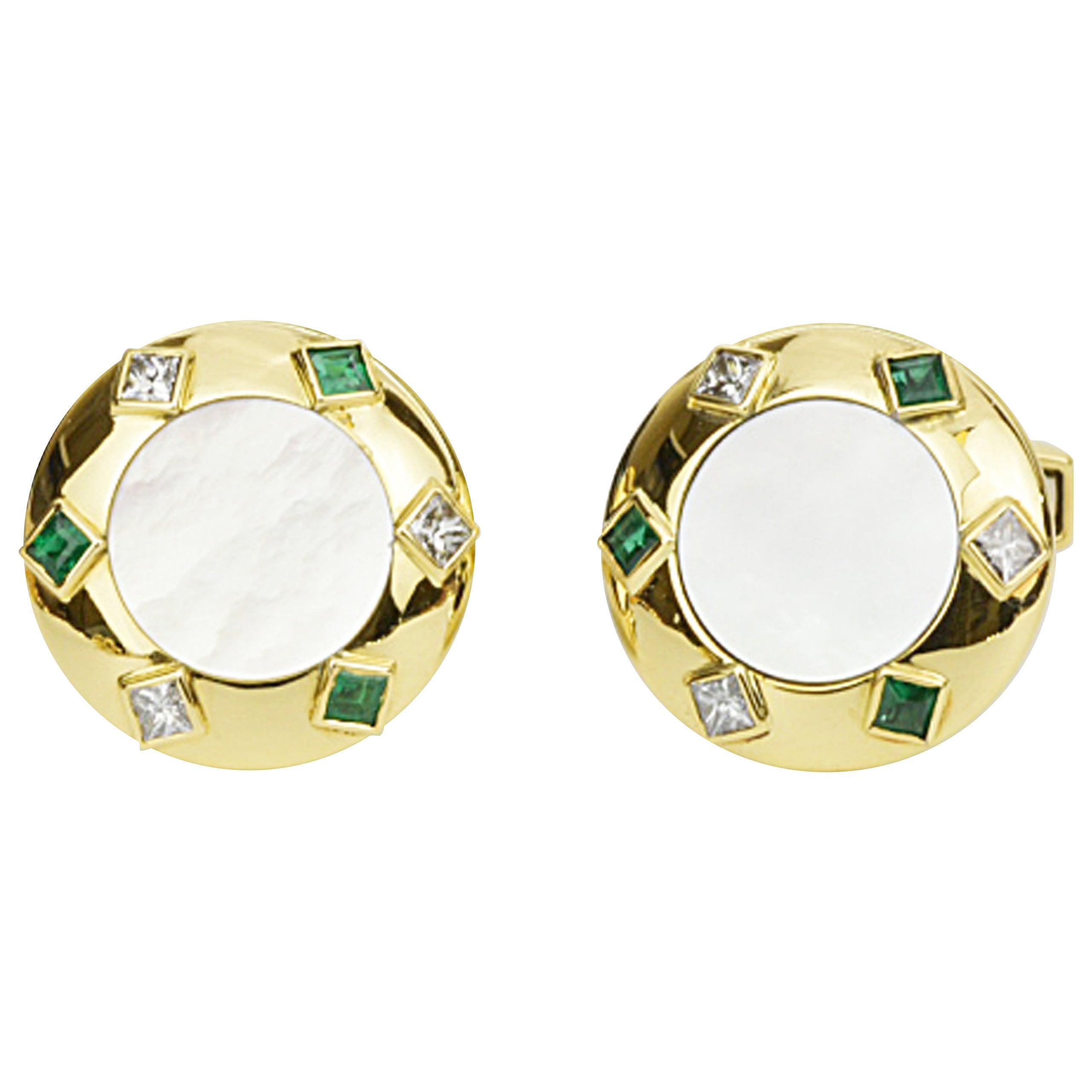 Matthew Cambery 18 Karat Gold Diamond Emerald and Mother of Pearl Cufflinks