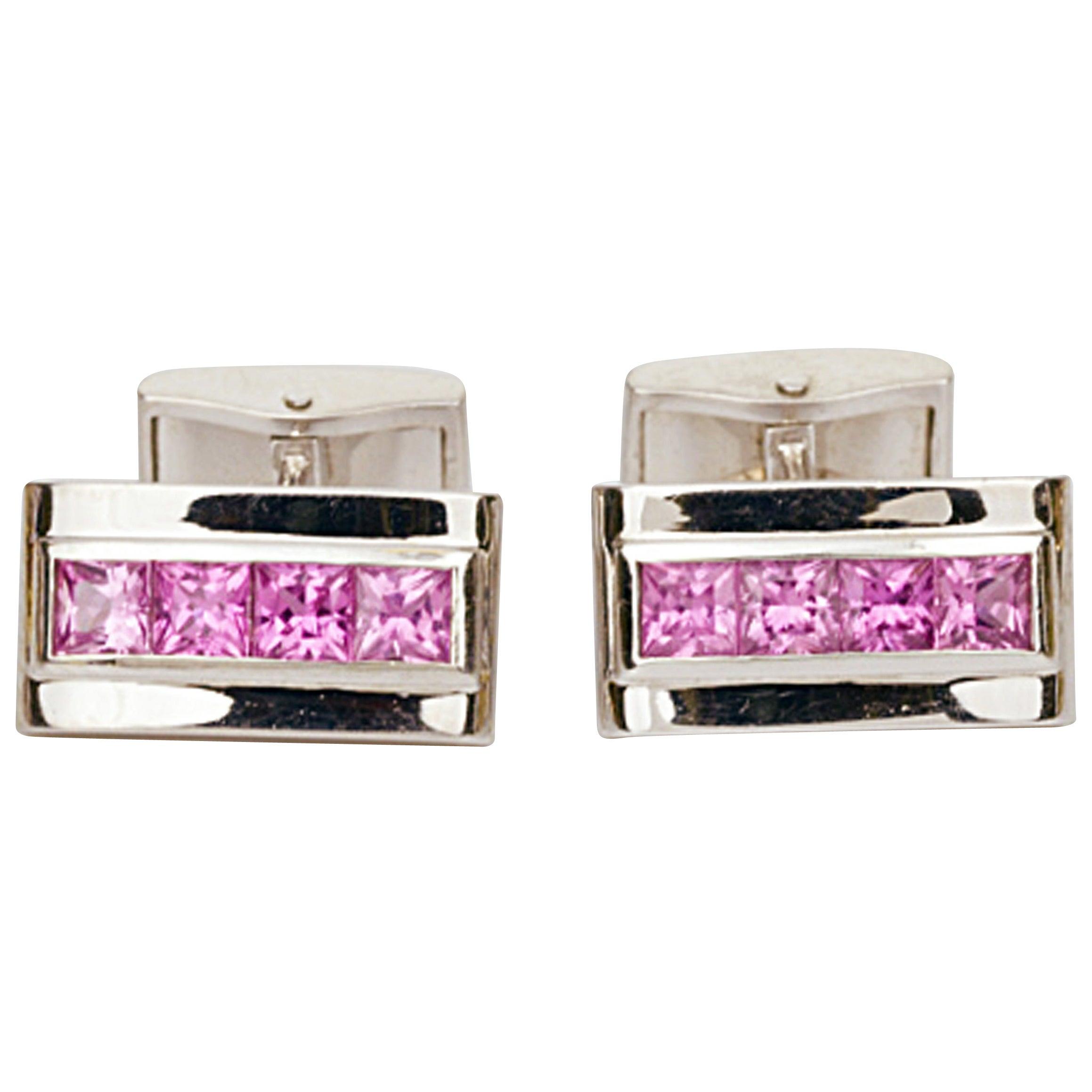 Matthew Cambery 18 Karat White Gold Princess Cut Pink Sapphire Cufflinks