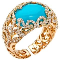 Chantecler of Capri Turquoise Diamond Gold Ring