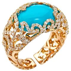 Chantecler of Capri Turquoise Diamond Gold Ring