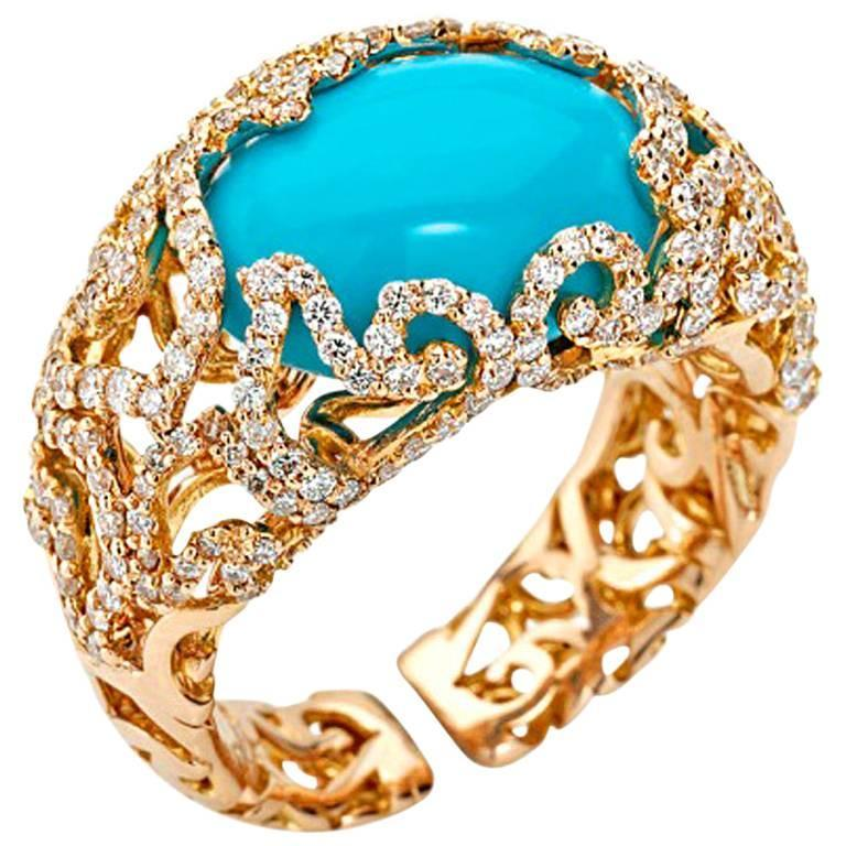 Chantecler of Capri Turquoise and Diamond Ring at 1stdibs