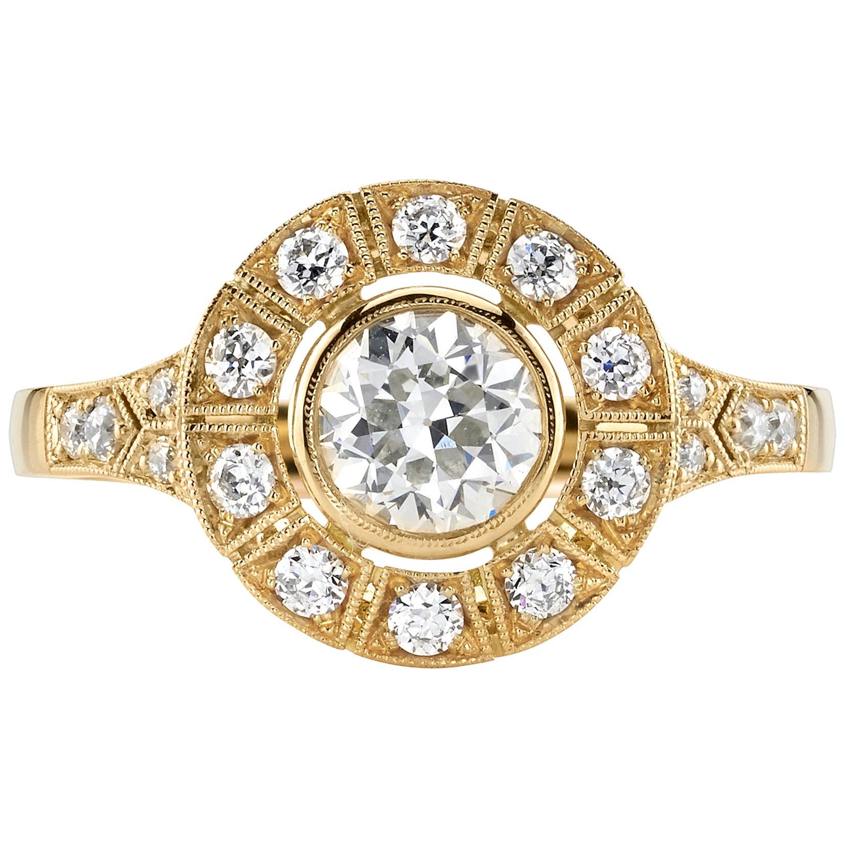 0.65 Carat Old European Cut Diamond Set in an 18 Karat Yellow Gold Ring