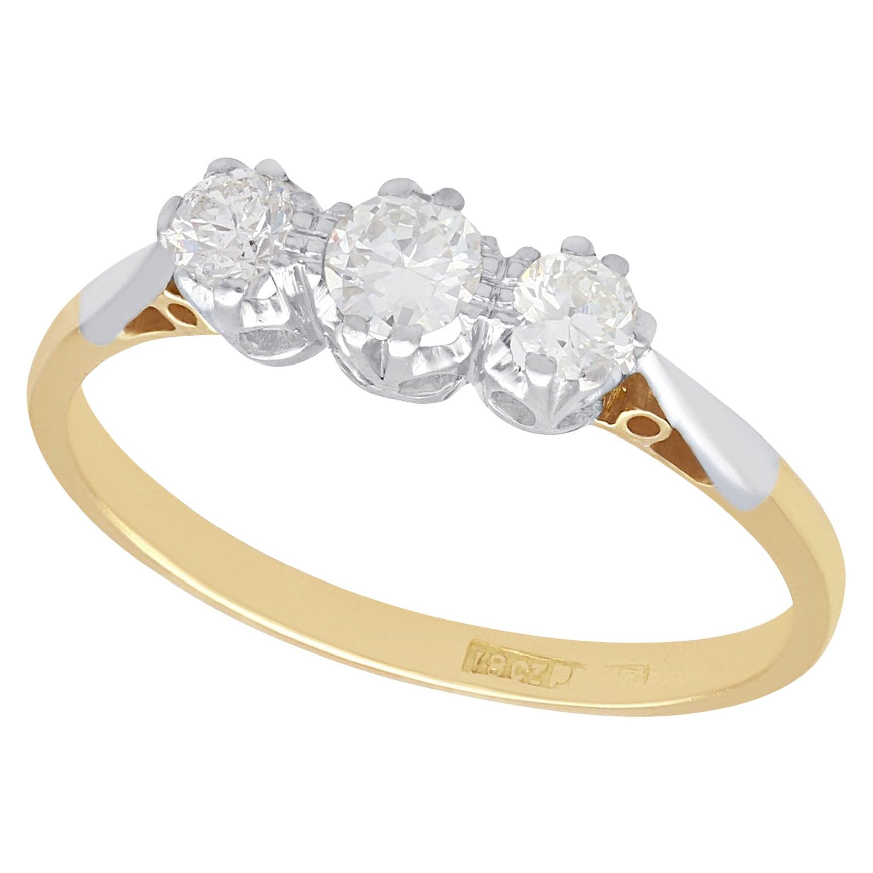 Antique 1930s Diamond Yellow Gold Trilogy Ring