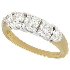 Vintage 1960s Diamond Yellow Gold Five Stone Ring