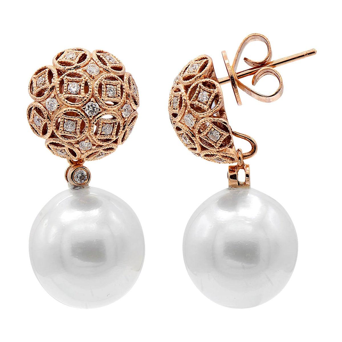 Diamond South Sea Pearl Drop Earrings 0.30 Carat 18 Karat Rose Gold