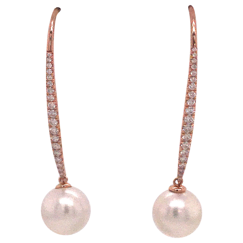 South Sea Pearl Diamond Drop Earrings 0.57 Carat 18 Karat Rose Gold