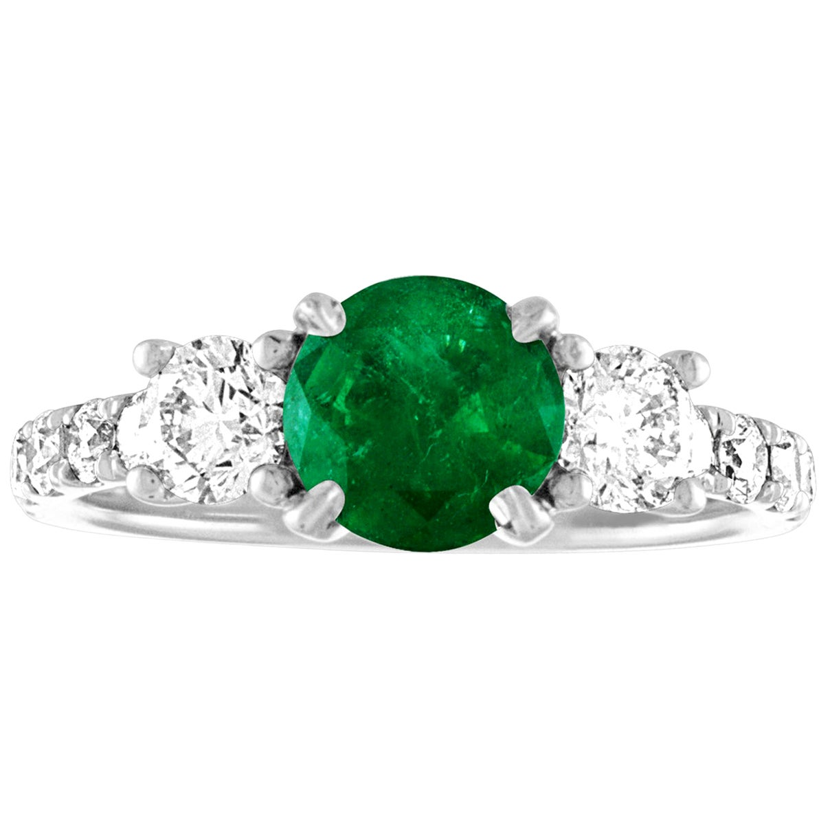 AGL Certified 0.77 Carat Emerald Three-Stone Diamond Gold Ring