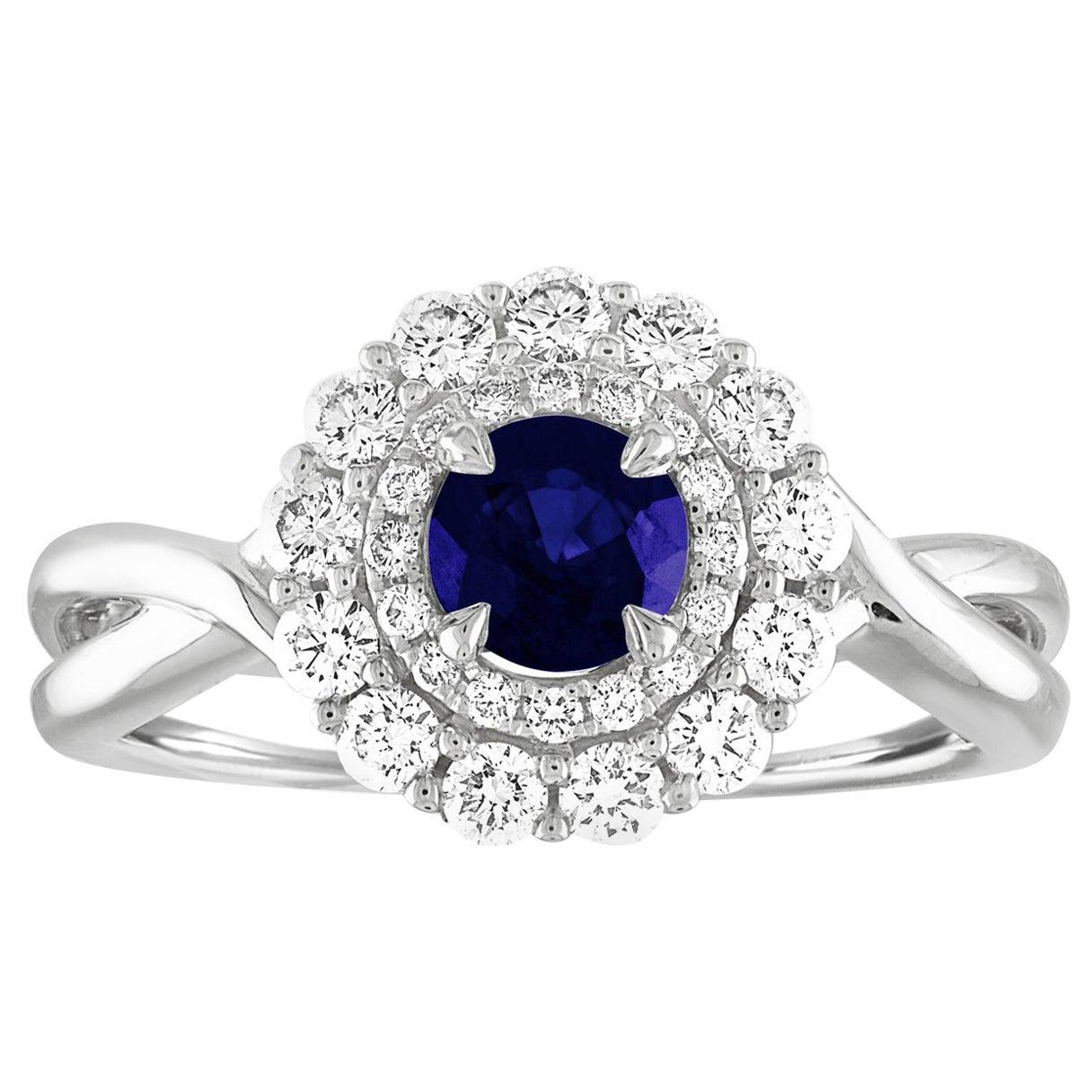AGL Certified 0.84 Carat Round Sapphire Diamond Gold Ring