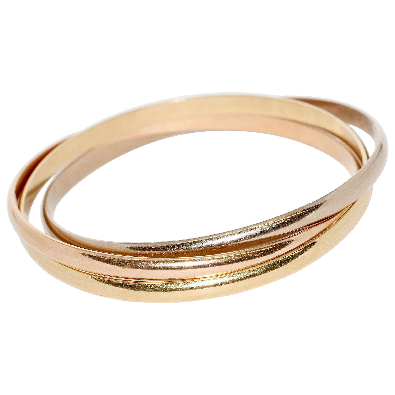 Cartier Trinity Tri-Color Bangle, Bracelet 18 Karat Rose, White and Yellow Gold