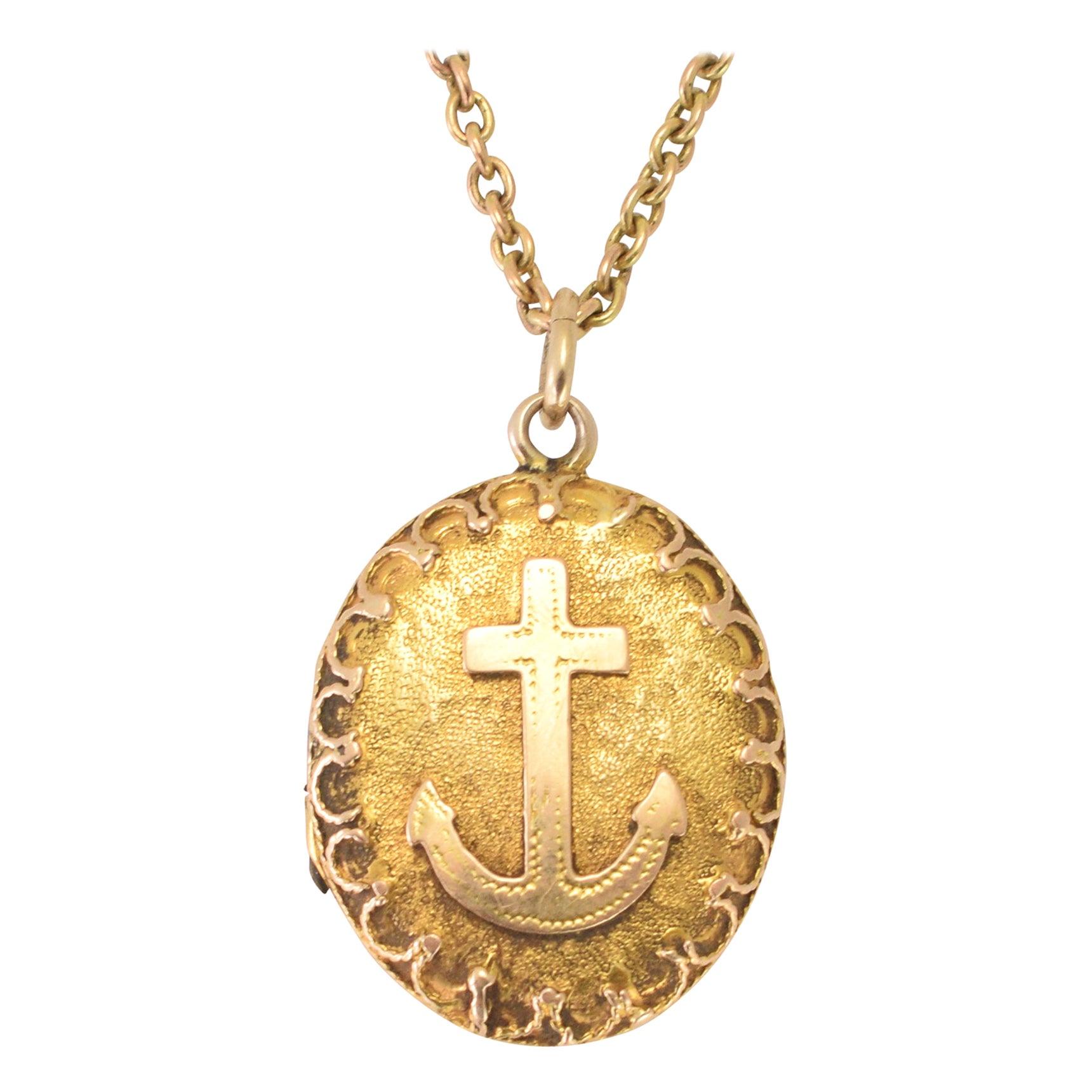 Antique Victorian Gold Anchor Locket