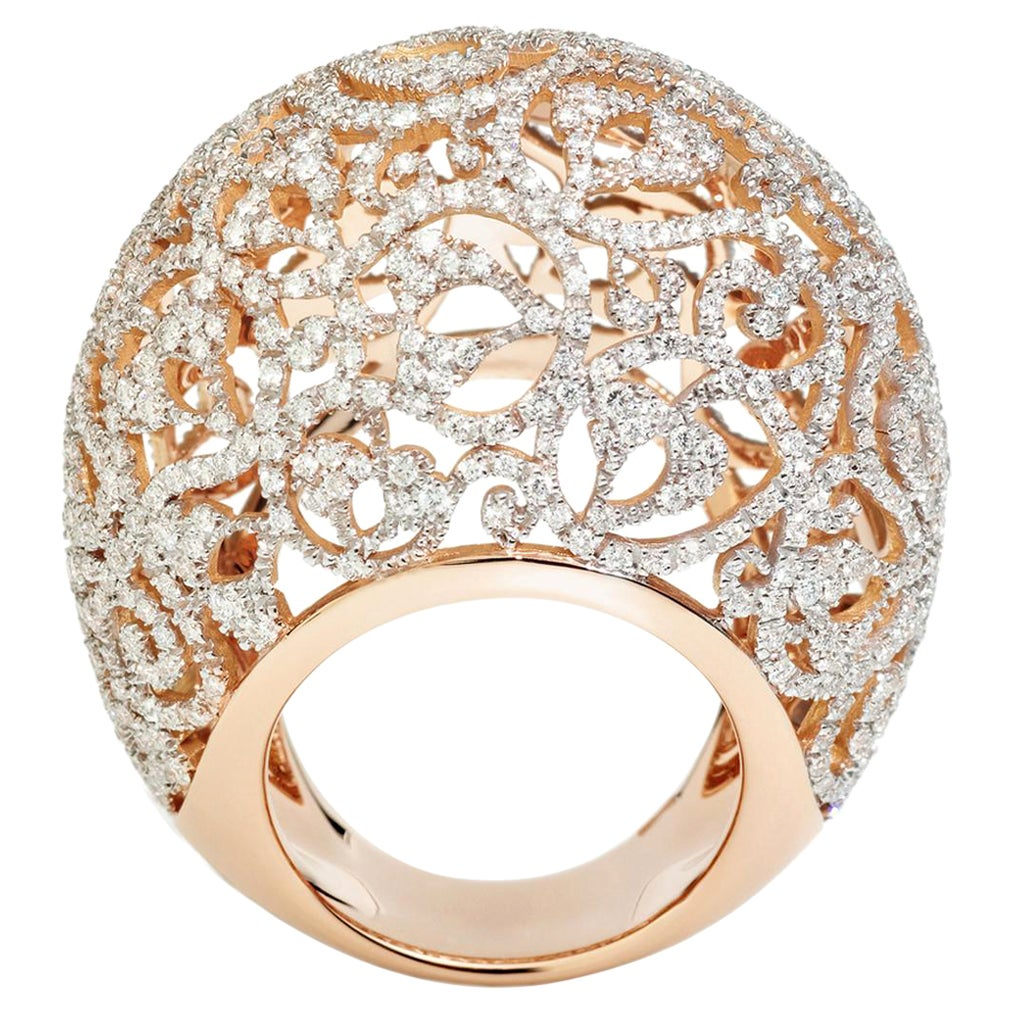 Pomellato Arabesque Collection Ring in 18kt Rose Gold and 3.40 Carat of Diamonds