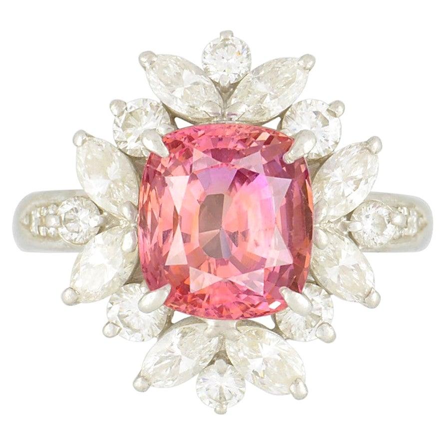 Padparadscha Sapphire Diamond Platinum Ring, GIA Certified