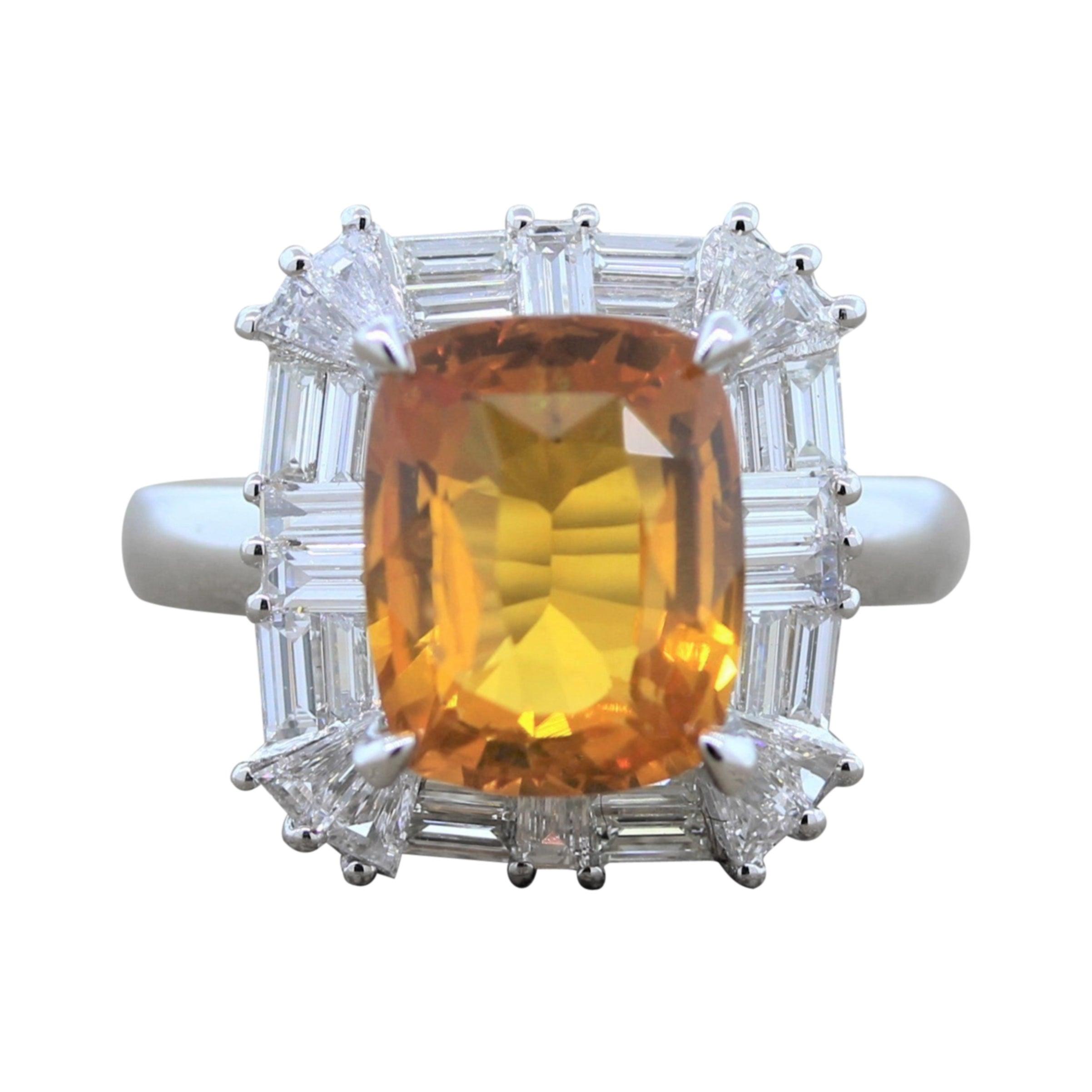 Orange Sapphire Diamond Gold Ring