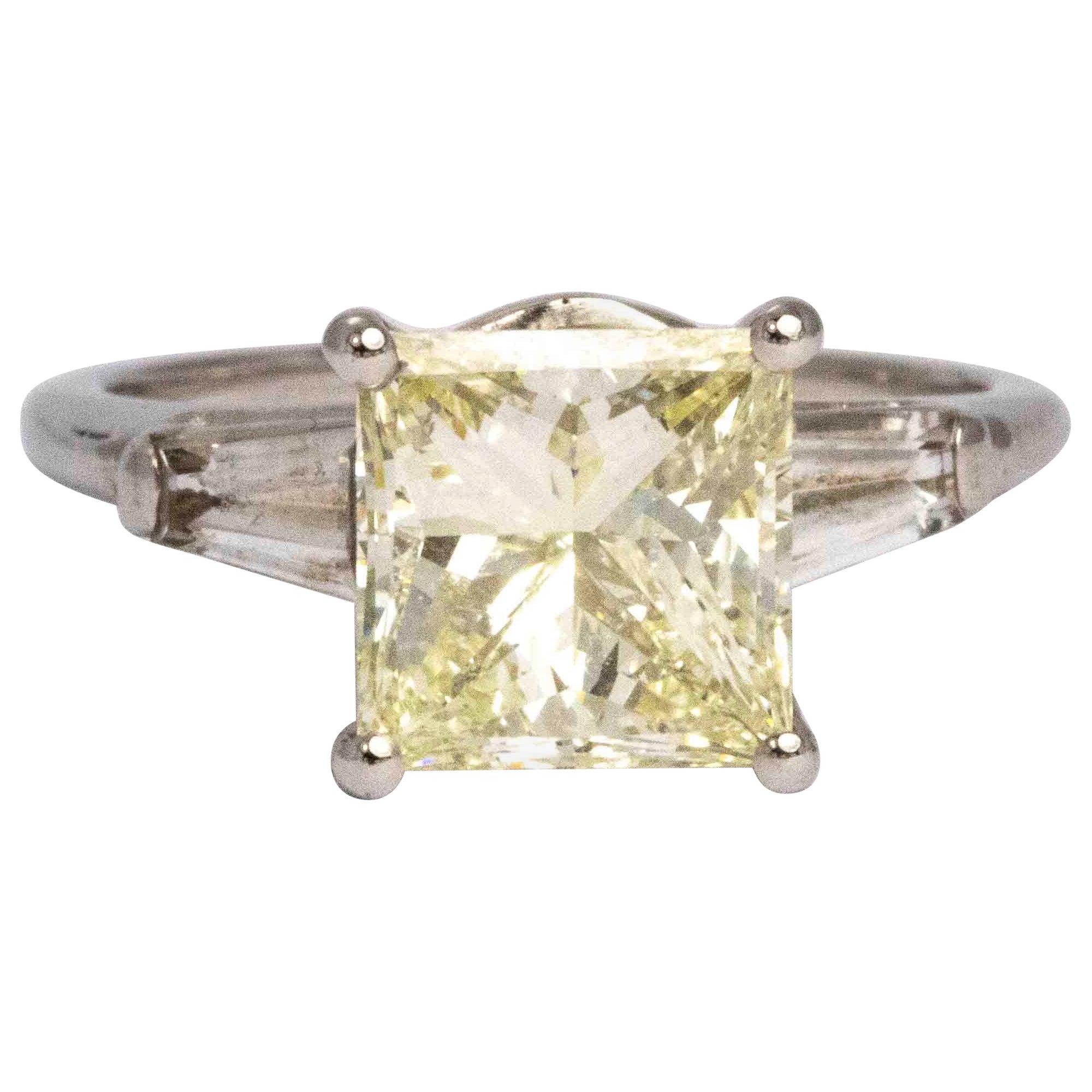 Vintage Champagne Princess Cut Diamond and Platinum Ring