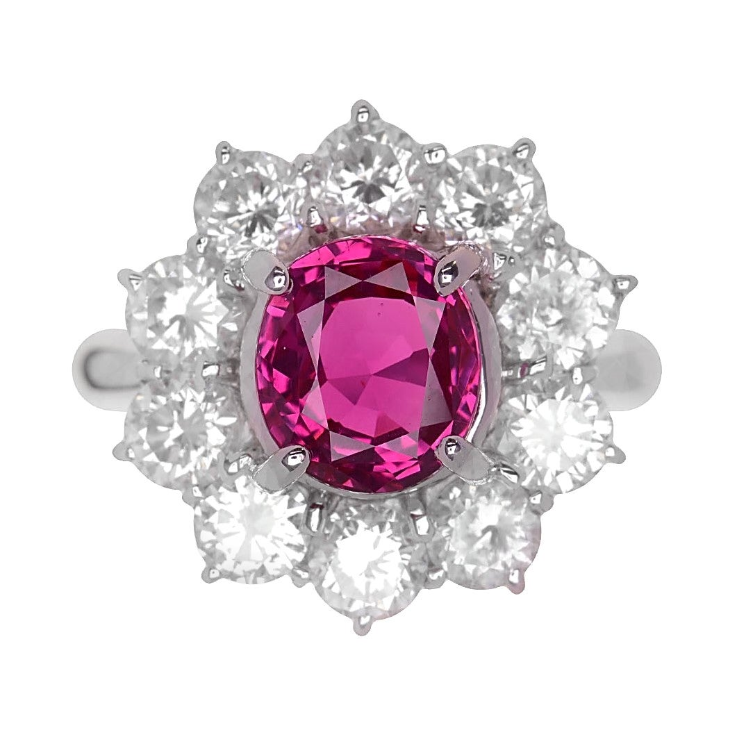No-Heat Ruby Diamond Platinum Ring, GIA Certified