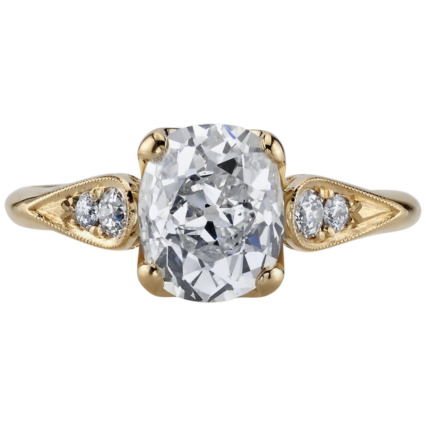1.86 Carat GIA Certified Cushion Cut Diamond in an 18 Karat Yellow Gold Ring