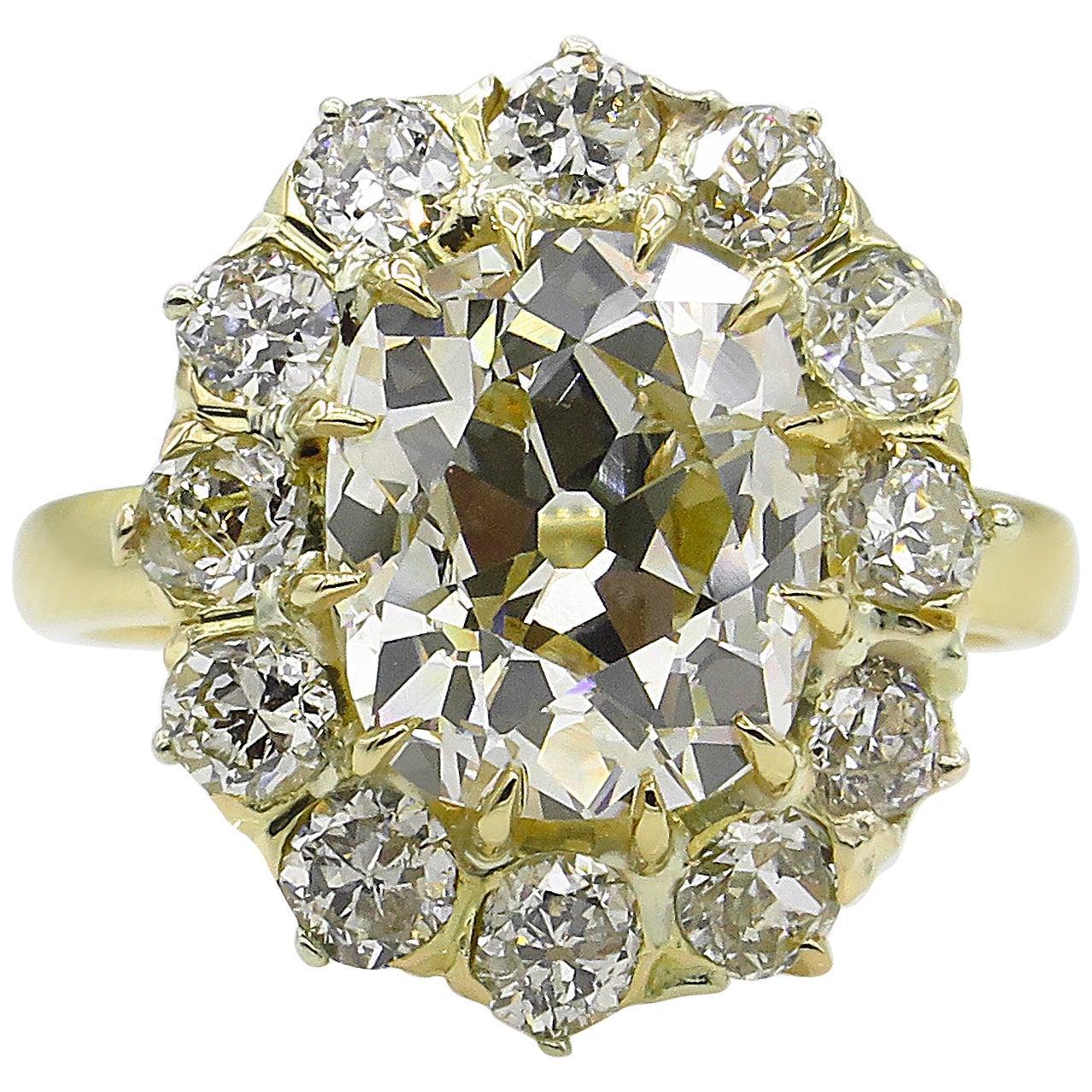 GIA 4.70 Carat Old Mine Cushion Diamond Cluster Engagement Ring