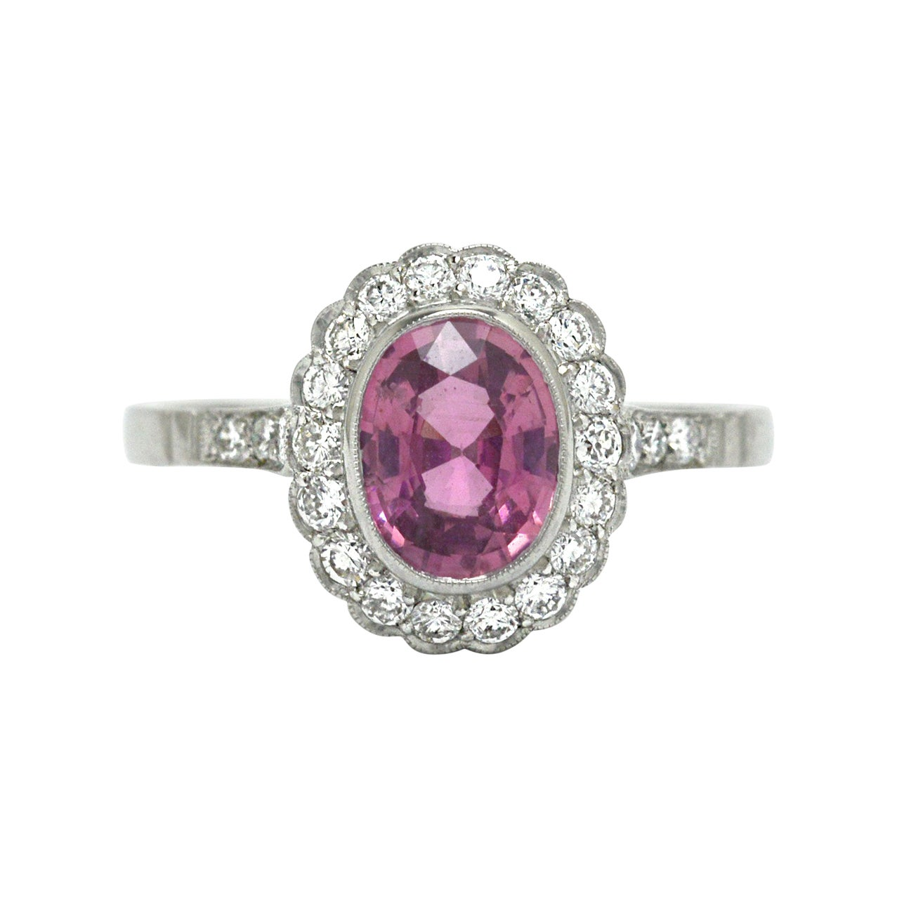 Pink Sapphire Engagement Ring Natural Diamond 2 Carat Halo Art Deco Style