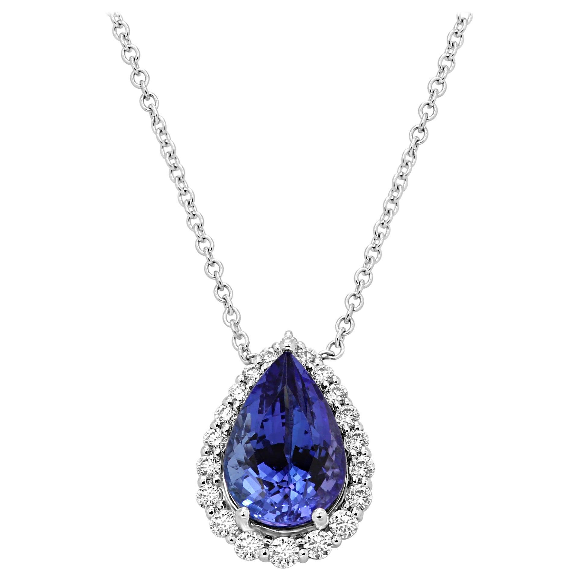 Tanzanite Pear White Diamond Round Halo Gold Drop Pendant Chain Necklace