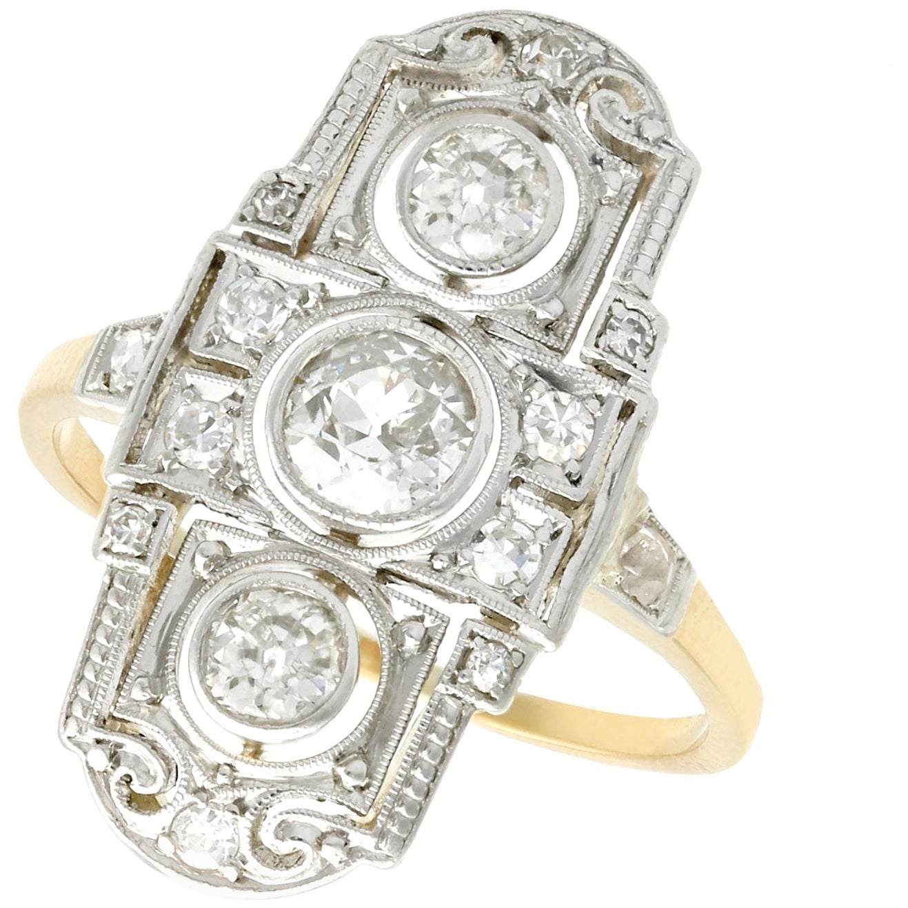 Antique 1920s Diamond and Yellow Gold Dress Ring