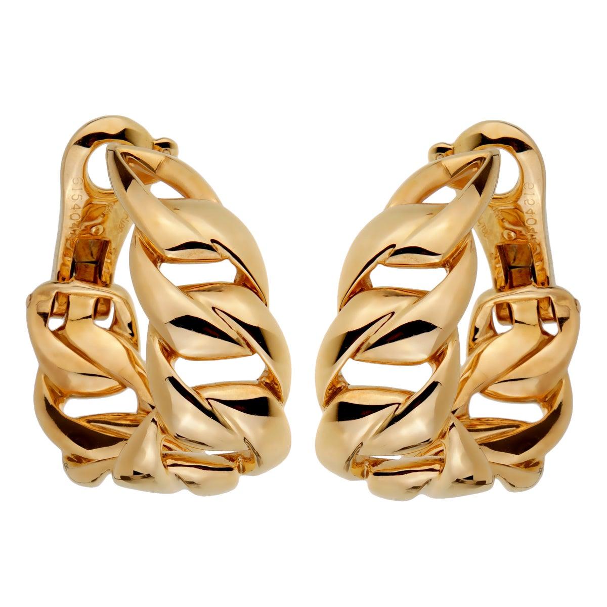 Cartier Chain Link Yellow Gold Hoop Earrings