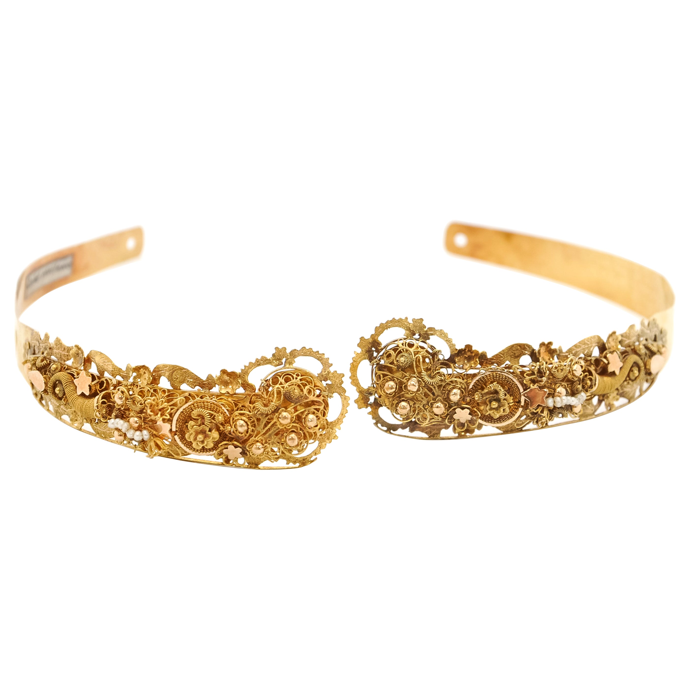 Victorian 14 Karat Gold Filigree Pearl Jewelry Set