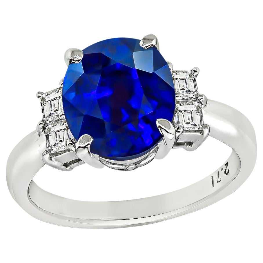 GIA Certified 2.71 Carat Sapphire Diamond Engagement Ring