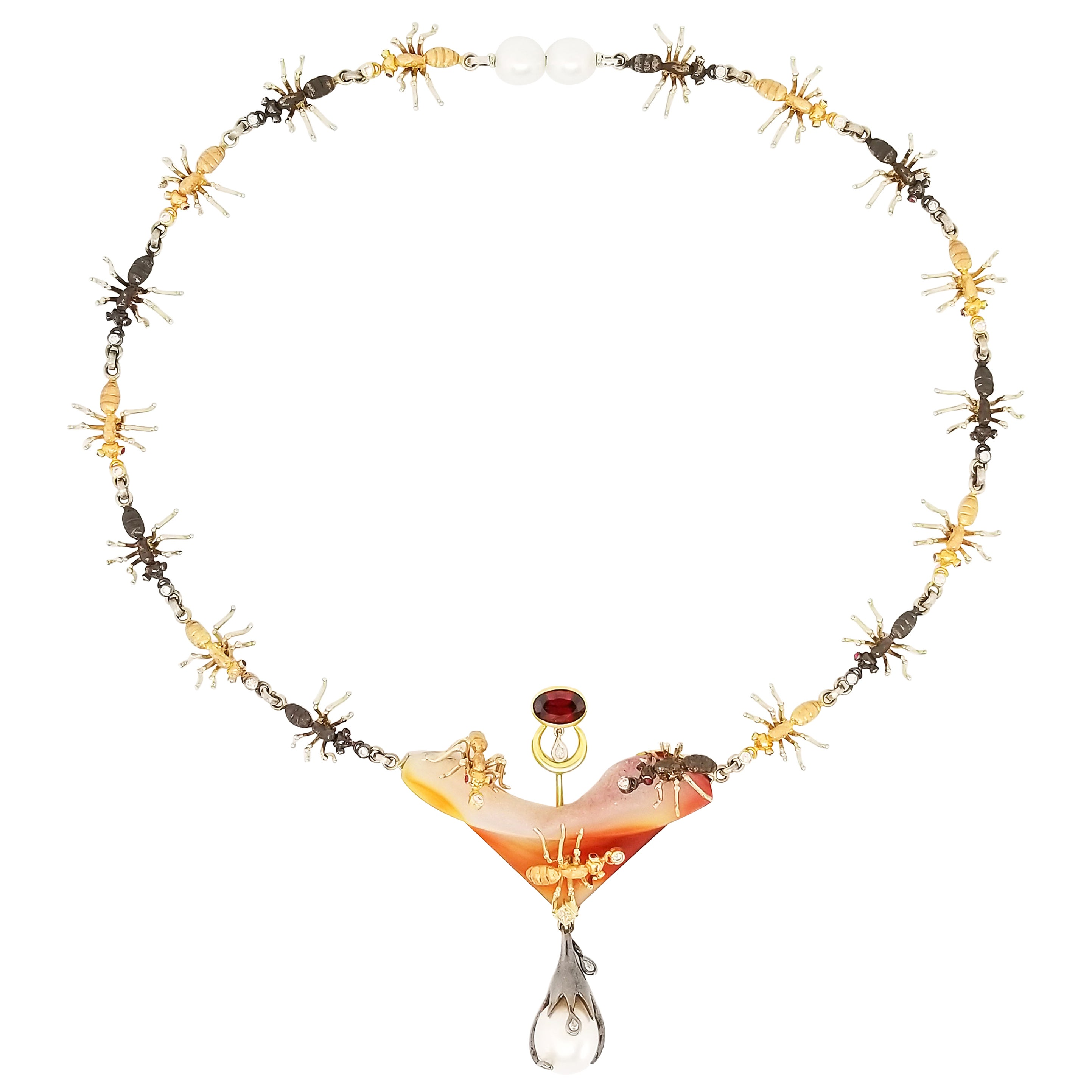Ant Insect Necklace Gold Platinum Ruby Red Zircon Diamond South Sea Pearl Agate
