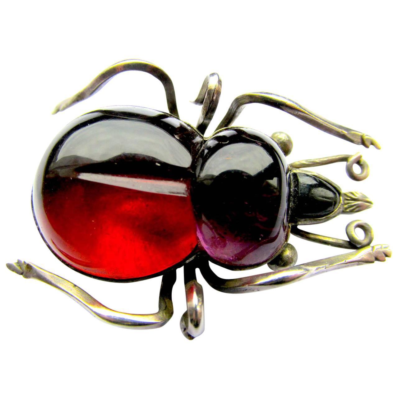 Antique Rock Crystal Bug Brooch