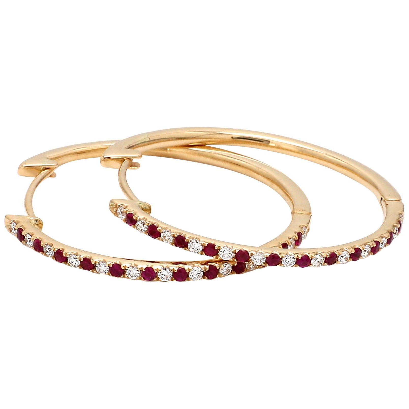 18 Karat Yellow Gold Ruby Diamond Hoop Earring