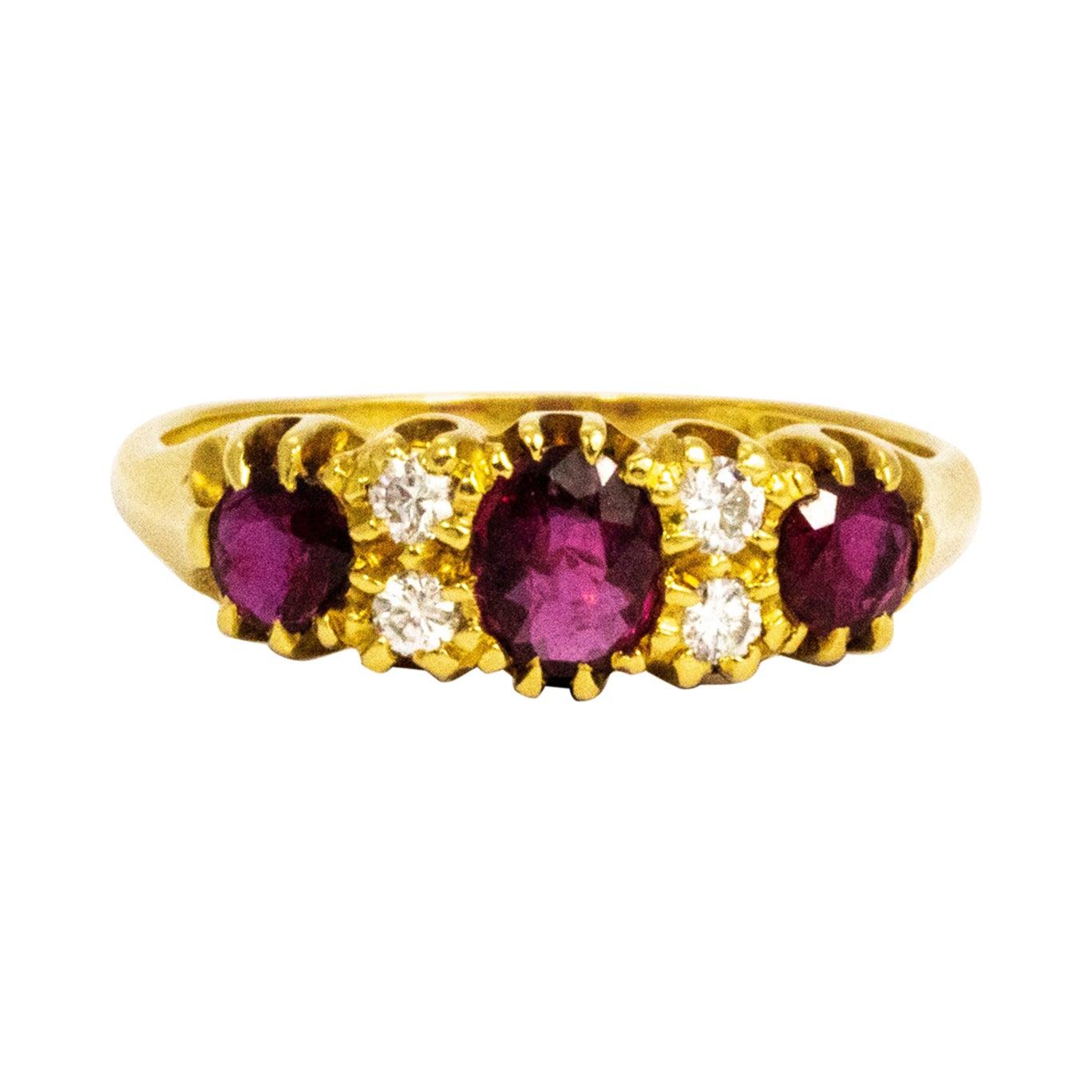Vintage Ruby and Diamond 18 Carat Three-Stone Ring