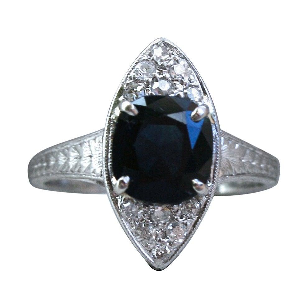 Beautiful Vintage Diamond and Sapphire Navette Platinum Ring.