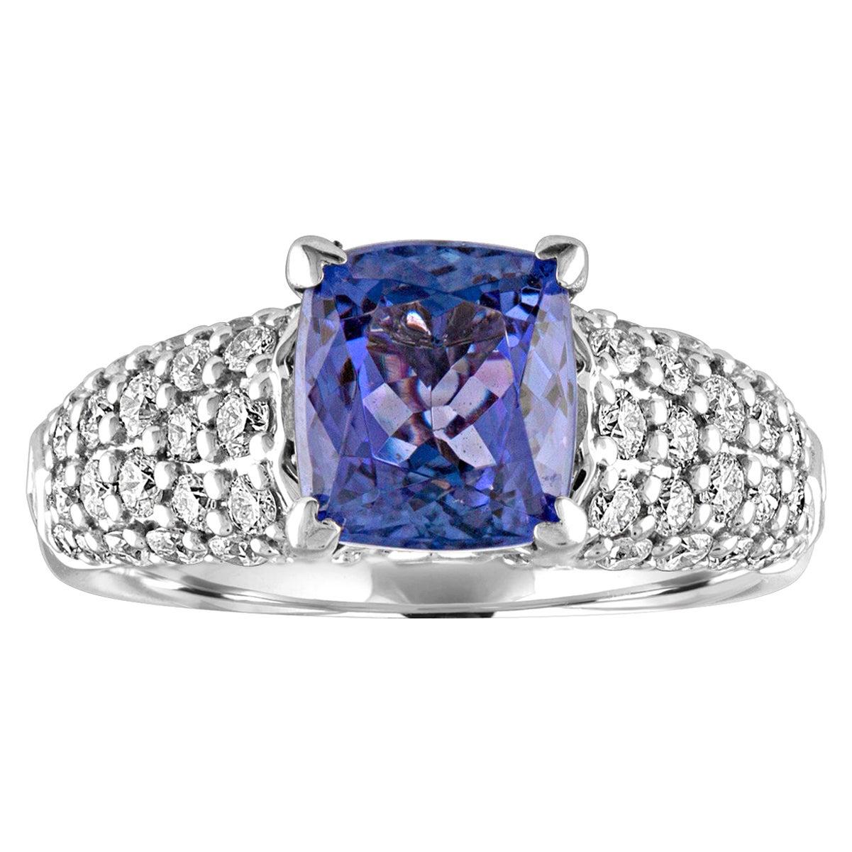2.97 Carat Cushion Tanzanite Diamond Gold Pave Ring