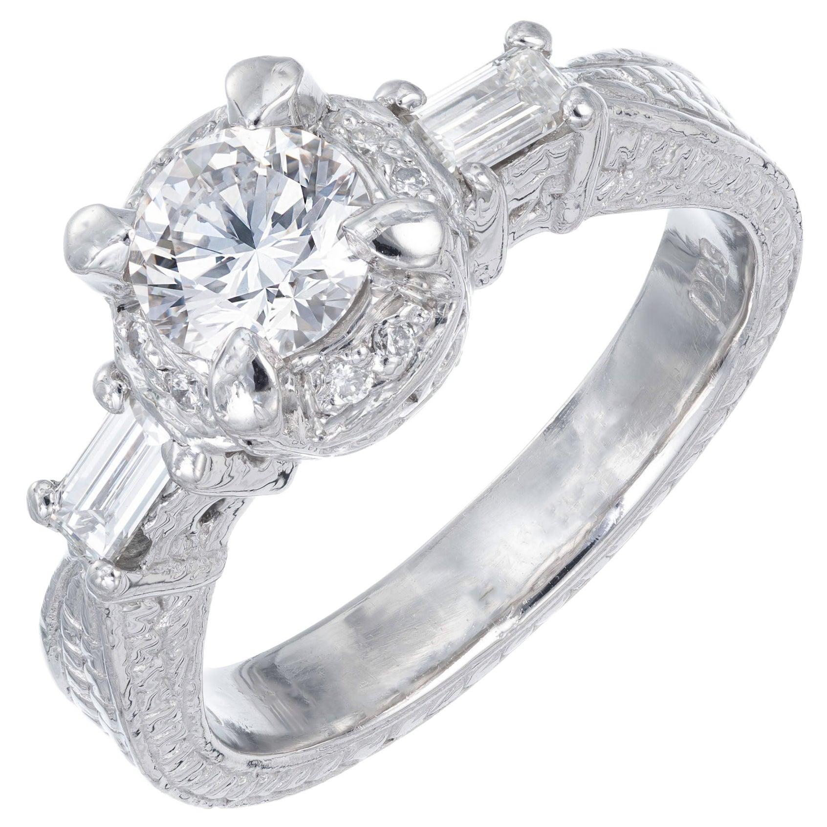 .75 Carat Round Diamond Baguette Halo Platinum Engagement Ring