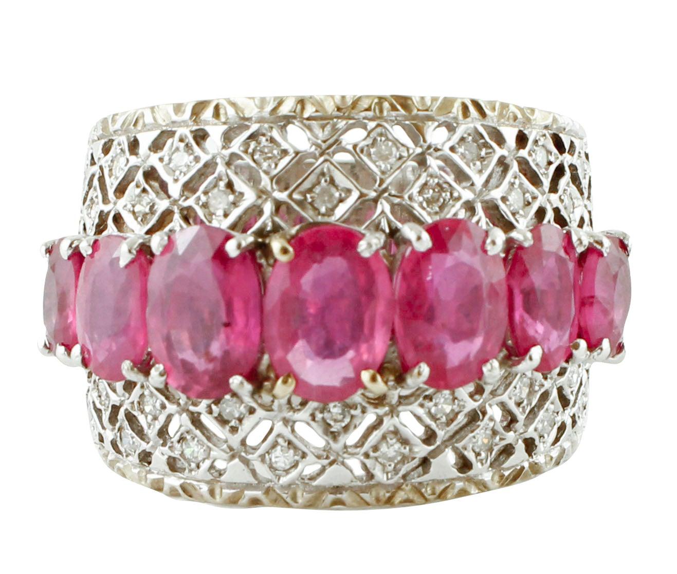 Diamonds, Rubies, 14 Karat White Gold Band Ring
