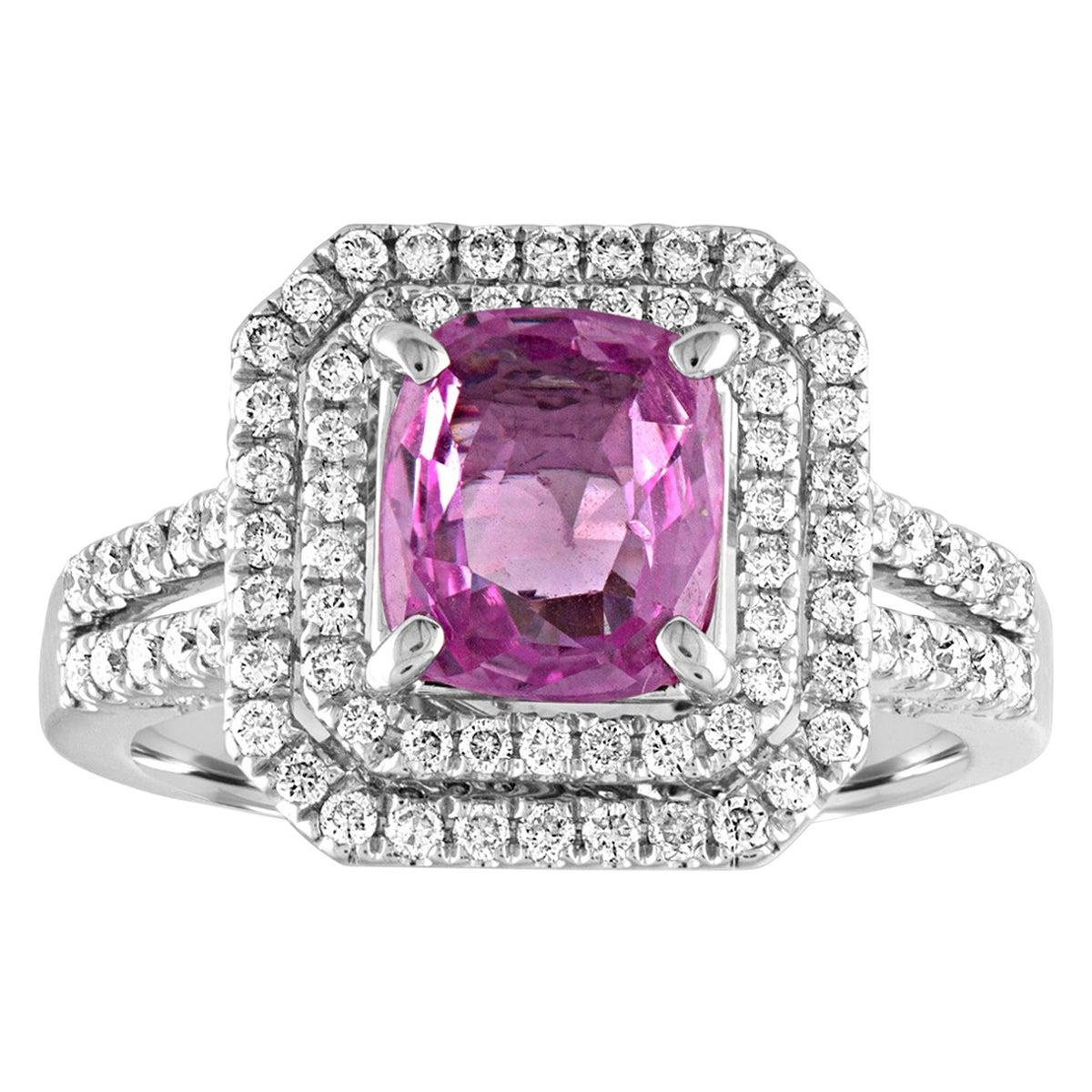 1.90 Carat Cushion Cut Pink Sapphire Diamond Gold Ring