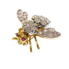 Herbert Rosenthal 18 Karat Two-Tone Diamond Ruby Bee Brooch Pin