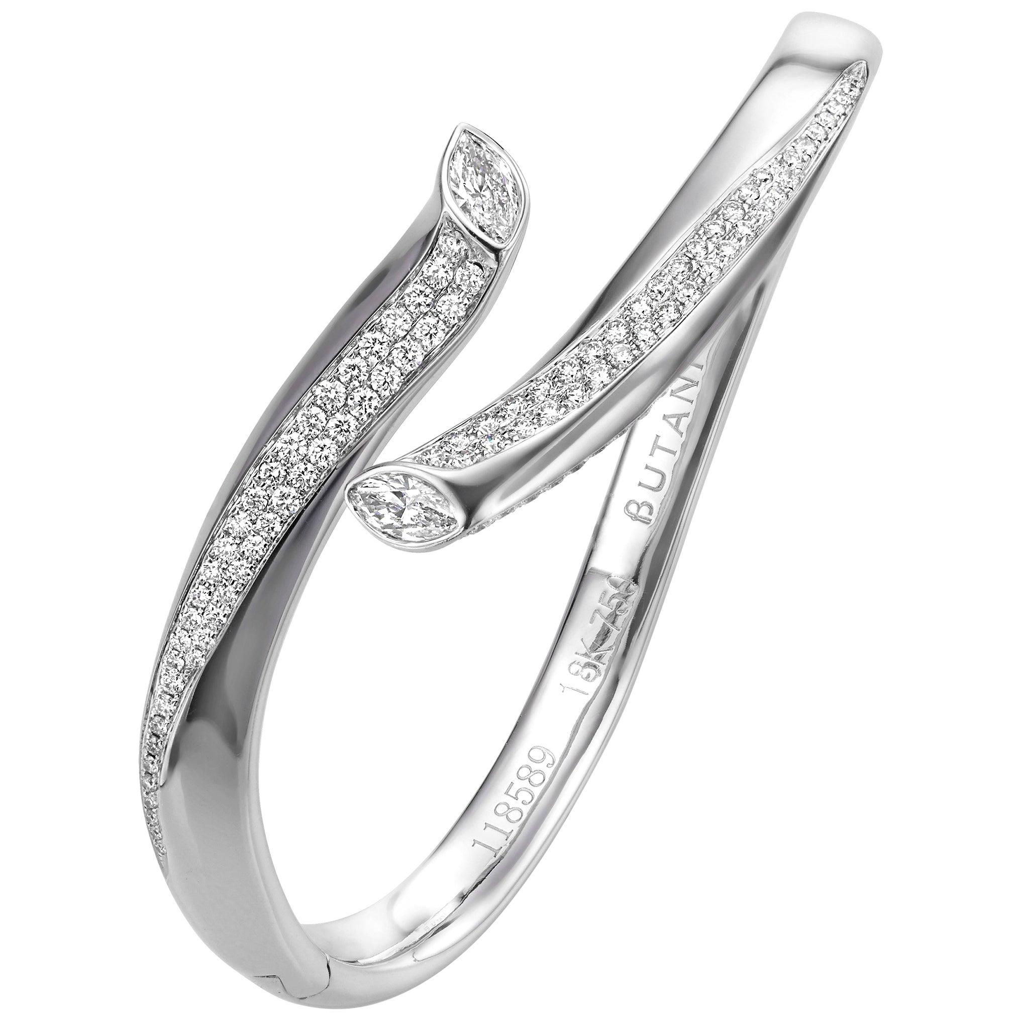 2.21 Carat Marquise Round Diamond 18 Karat White Gold Bangle Bracelet