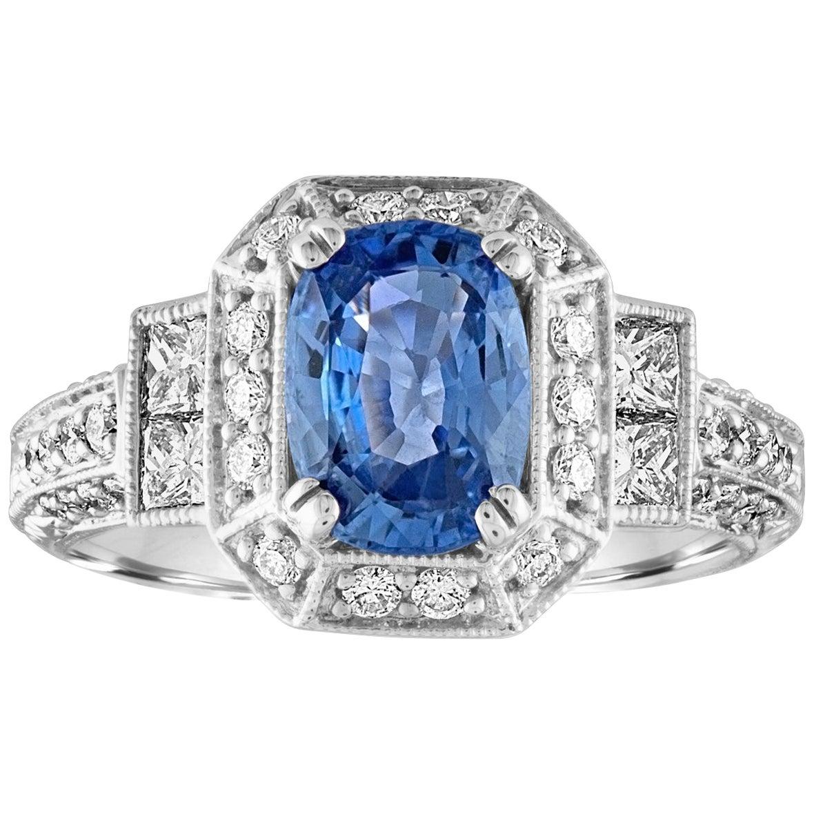 1.74 Carat Blue Sapphire Oval Diamond Gold Milgrain Filigree Ring