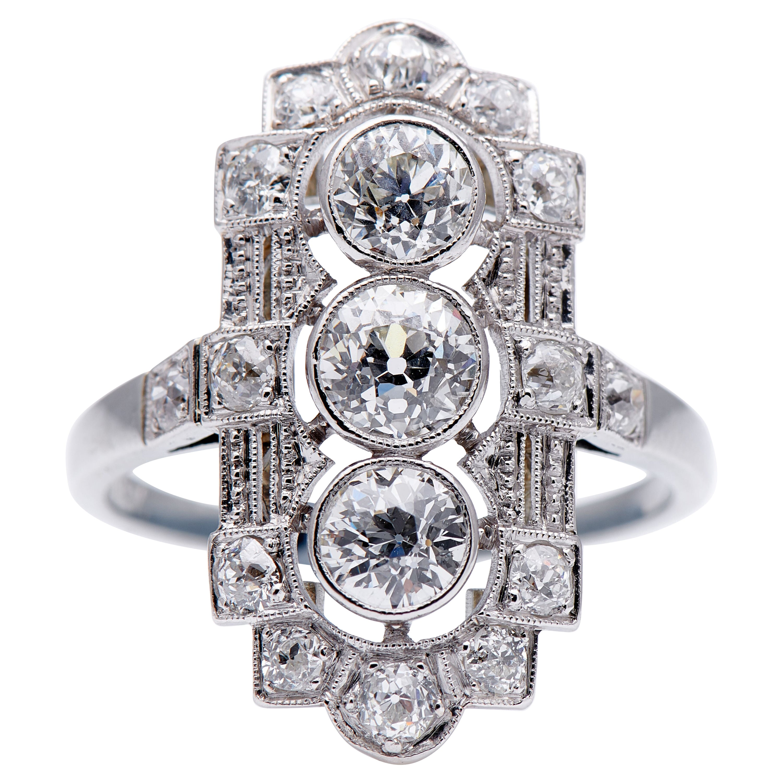 Antique, Art Deco, 585 White Gold, Old-Cut Diamond Plaque Engagement Ring