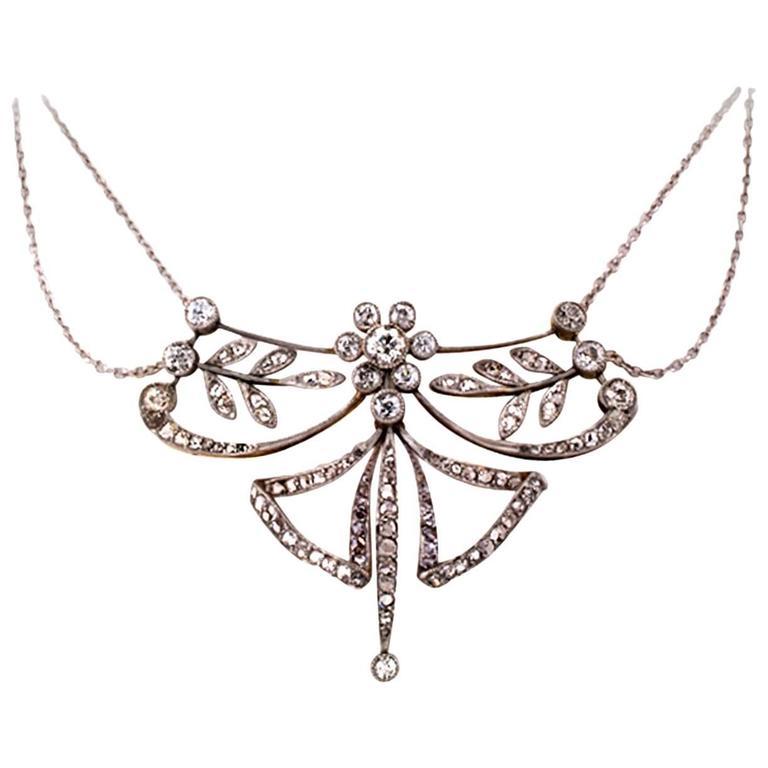Edwardian Diamond Platinum Gold Necklace 1