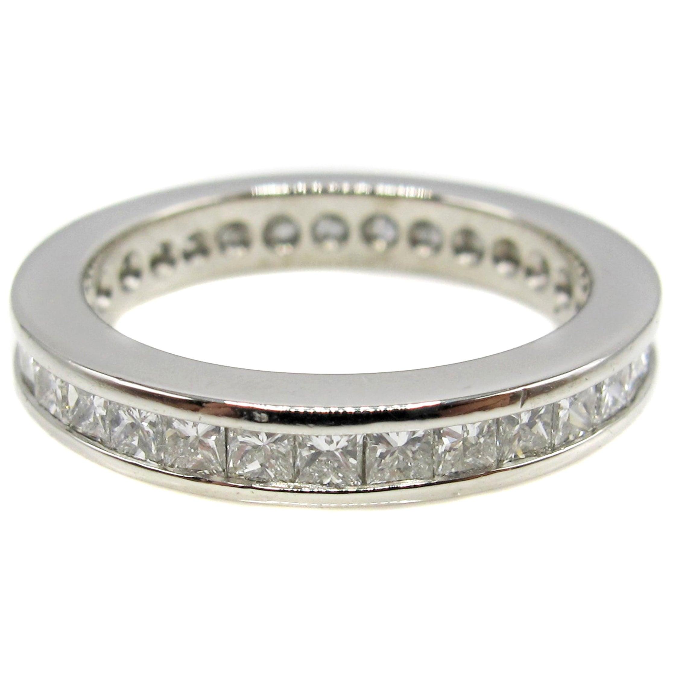 Princess Cut Diamond Platinum Eternity Band Ring