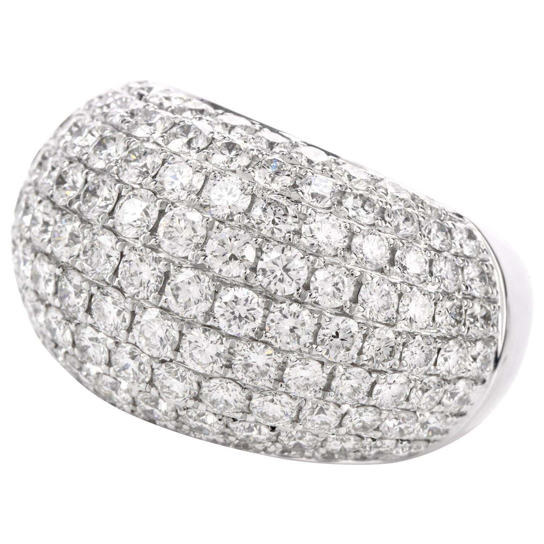 Estate Pave Diamond 18 Karat Dome Bombe Cocktail Ring