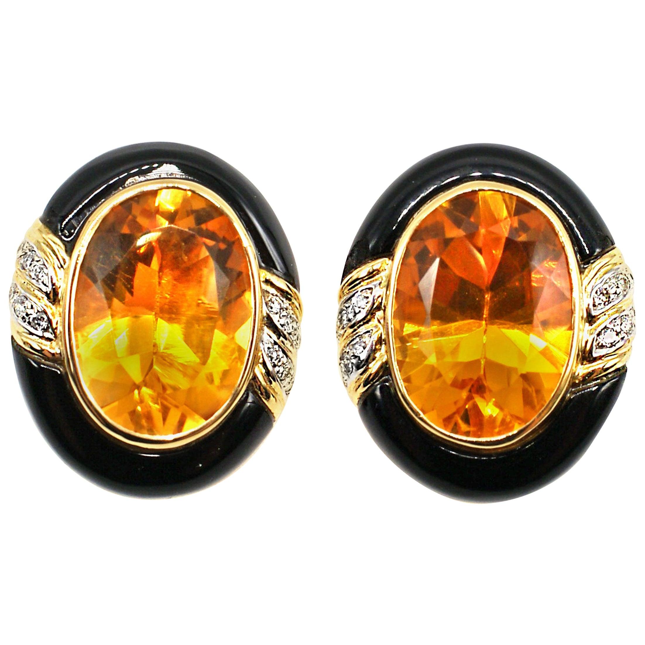 Enamel Citrine Diamond 18 Karat Gold Earrings