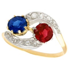 Antique 1910s Red Spinel and 1.02 Carat Sapphire Yellow Gold Twist Ring