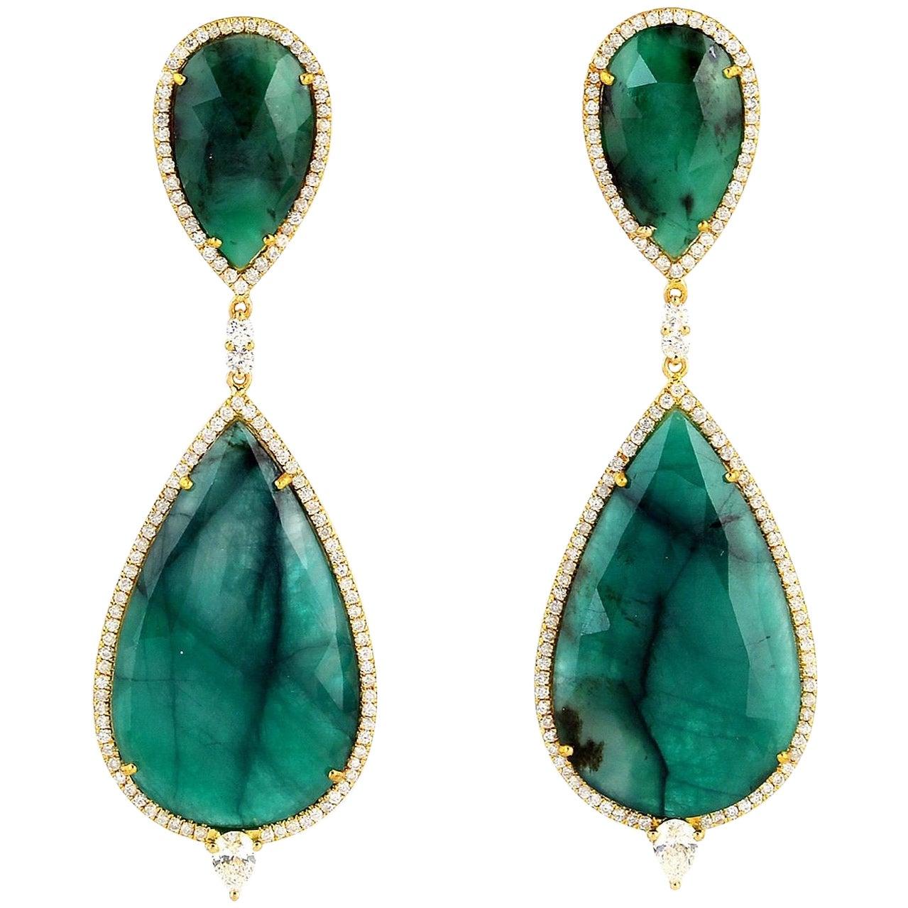 34.95 Carat Emerald Diamond 18 Karat Gold Earrings