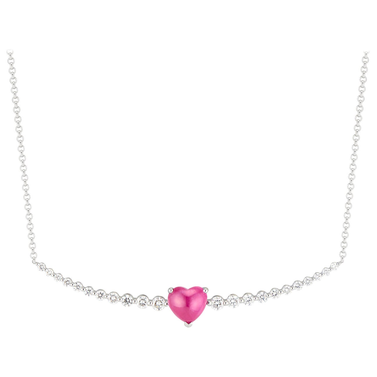 Floating Ruby Heart and Diamond Necklace