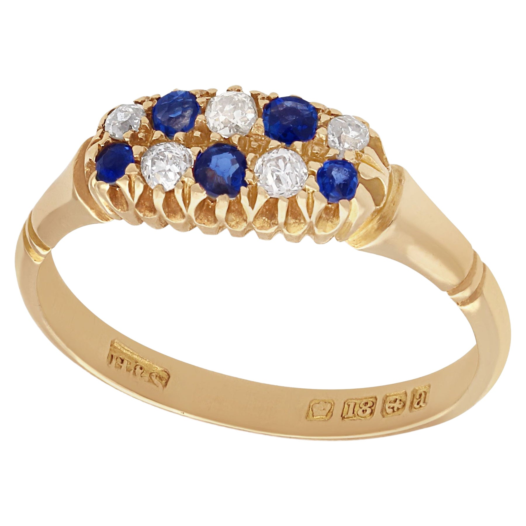 Antique 1900s Sapphire and Diamond Yellow Gold Cocktail Ring
